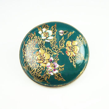 Satsuma Brooch Hand Painted Porcelain Flowers Forest Green Enamel Silver Jewelry