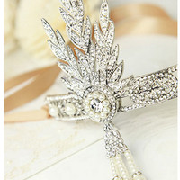 Great Gatsby 1920's Crystal Headpiece Hair Band Tiara - Replica