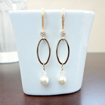 Swarovski pearl oval hoop earrings, Pearl dangle earrings, Bridesmaid earrings, Holiday gift, Simple everyday gift
