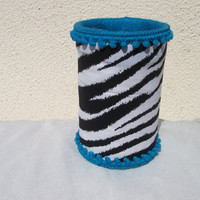Zebra Print with Turquoise Pompom TRim Pencil Holder/ Baby Shower Centerpiece