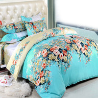 2016 Flower Printed Bedding Sets 4pcs 3pcs Single Double Scenery Bed Set Bedclothes no Comforter Duvet Cover/Sheet/Pillowcase
