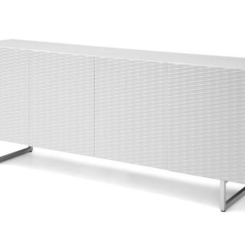 Wally Buffet 5mm pure tempered white glass top