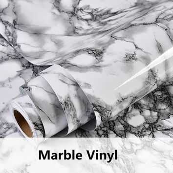 Gray Marble Waterproof Vinyl Self adhesive Wallpaper Sticker Modern Contact Paper Kitchen Countertop Shelf Drawer Liner Decals