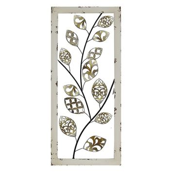 Stratton Home Decor Metallic Tree Vine Panel Wall Decor (White)