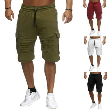 Fashion Sweatpants Joggers Casual Shorts Men Knee-Length Drawstring Pockets Fitness Workouts 2XL Cargo Bermuda Shorts Summer