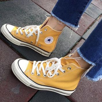 "Kalete ""Converse"" Fashion Canvas Flats Sneakers Sport Shoes Yellow"