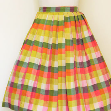 Vintage 50s Circle Skirt, Pleated Silk Pastel Plaid Checks