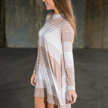 All About Stripes Dress, Taupe