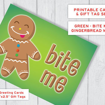 Gingerbread Man Bite Me Printable Christmas Card & Gift Tag Set - in Green | Funny Holiday Card