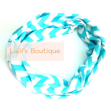 Tiffany Blue Chevron Infinity Scarf, Cotton Infinity Scarf, Loop Scarves, Knit, Jersey, Wide Scarf, Jersey Scarf