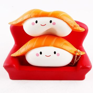 Pretend Play 12CM Kawaii Squishy Rice Ball Salmon Sushi Slow Rising Phone Straps Japan Style Keychain Kid Anti Stress Toy