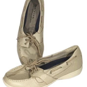 New Balance Aravon Vibram Boat Shoes Loafers Tan Cream Slip Flats Womens 6.5 D - Preowned