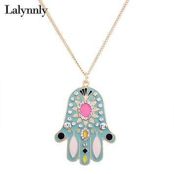 Lalynnly Long Fatima Hand Necklace Pendant Rhinestone Hamsa Gold Chain Necklace for Women Long Pendant Necklace Jewelry N61011