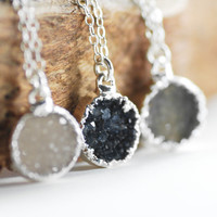 Noelani necklace -  silver druzy necklace, silver necklace, druzy, silver pendant necklace, druzy necklace, pendant necklace, maui, hawaii