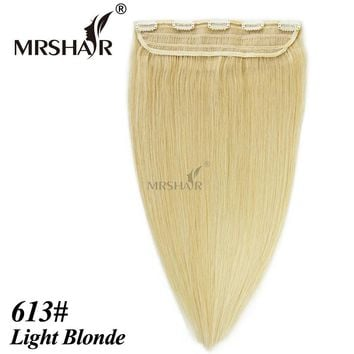 "MRSHAIR 613# Clip In Human Hair Extensions 18"" 22"" 1pc Tic Tac Hair Straight Hairpiece Brazilian Natural Hair Extensions Clip"