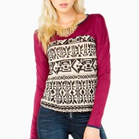 Long Sleeve Button Back Tribal Top