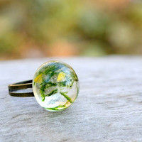 eco resin ring-green ring-natural moss-nature by LovelinessNature