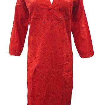 Mogul Women's Sexy Red Tunic Cotton Designer Dress Caftan Floral Embroidered Kurta: Amazon.ca: Clothing & Accessories