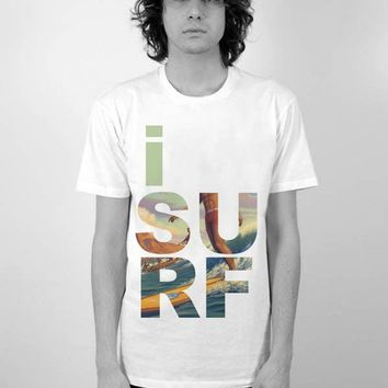 I Surf Men's Perfect Fit T Shirt T- Shirt Graphic Tee Ringspun Super Soft 100 Percent Cotton Fitted Crew Neck Top Knit White