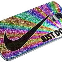 Just Do It Nike Rainbow Glitter 01 for Samsung Galaxy S4 S5 S6 Case (samsung galaxy s5 white)