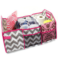 Chevron Zig Zag Pink and Grey Trunk Utility Bag with Insulated Cooler  Personalized   Trunk Organizer  Car Organizer   Christmas Gift