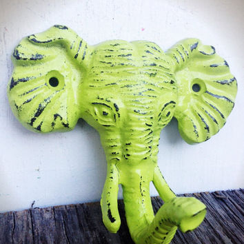 Chartreuse Lime Green Shabby Distressed Cast Iron Elephant Head Wall Hook - Jungle Safari Animal