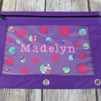 Personalized Polka Dot Binder Pencil Pouch