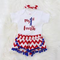 Girls 4th of July Outfit | My 1st Fourth Outfit with Red and White Chevron Shorts with Blue Pom Pom Trim, knotted headband