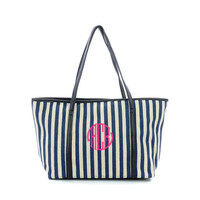 Clearance Personalized Navy Striped Woven Shoulder Bag 40% Off Retail Price of $27.95 Now Only $16.95 While Supplies Last
