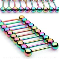 10PC Rainbow Titanium IP Over 316L Surgical Steel WildKlass Barbell Package
