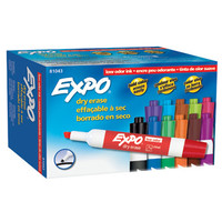 Expo Low Odor Chisel Tip Dry Erase Markers, 12 Assorted Markers