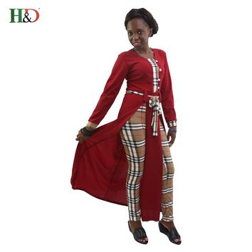 H&D Tops And Pants 2 Piece Set african Women Suits Fashion African Print long Sleeve Autumn Outfits Woman africa style clothing