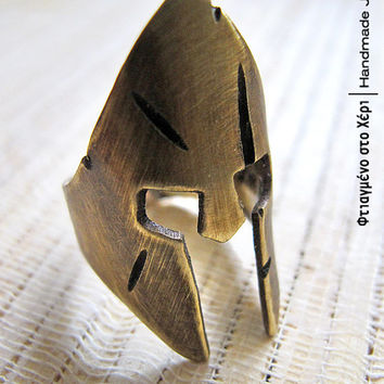 Leonidas helmet handmade ring, Ancient Greek Art, Limited edition Handmade Greek Jewerly, 300 the ring, King Leonidas ring