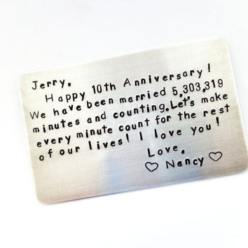 Personalized Wallet Card | Custom Wallet Insert Card | 10 yr Anniversary Gift | Gift For Him | Husbands Gift