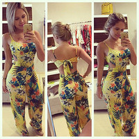 2016 Fashion Rompers Summer Women Jumpsuit Sexy Sleeveless Tank Playsuits Casual Beach Floral Playsuits Overalls Bodysuit