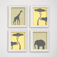 Jungle Nursery Art, Nursery Art Print, Safari Animal Print, Baby Nursery Decor, Giraffe Art Print, Elephant Art Print, Modern Home Decor