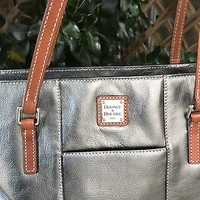 Dooney and Bourke Pebble Leather Metallic Silver Gray Lexington Shoulder Bag