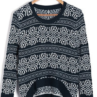 'The Anastasia' Tribal Pattern High-Low Pullover Sweater