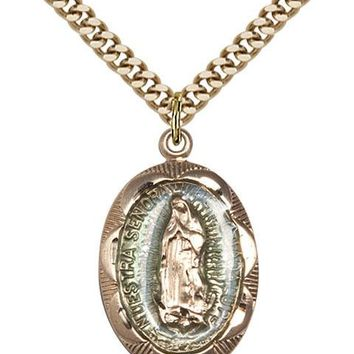 14K Gold Filled Our Lady Guadalupe Virgin Mary Medal Necklace Pendant 617759204704
