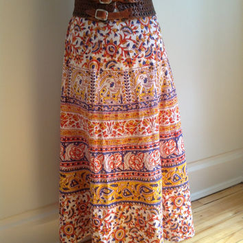 Vintage 70s Boho Ethnic Hippie Festival Cotton Circle Wrap Skirt India Elephant Free Size