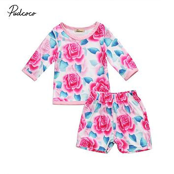 Baby Girl Floral Clothes Set 2Pcs Fall Newborn Baby Girl Long Sleeve Tops Shorts Pants New Outfits Cute Girls Clothing Set