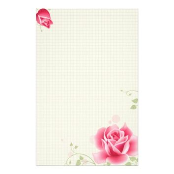 Pretty Pink Full Rose On A Graph Background Stationery Design