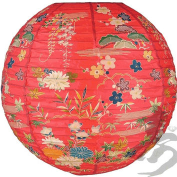 14'' Chinese Japanese Paper Lantern Red Origami Floral Home Decor Party NEW