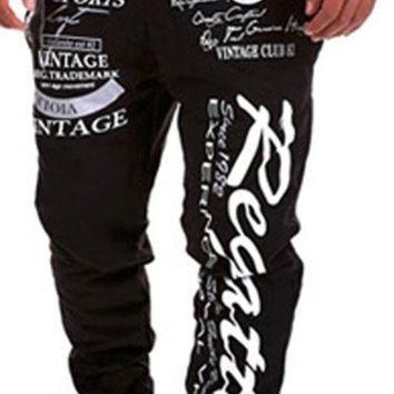 jeansian Men's Sport Jogger Printed DrawString Baggy Long Pants Sweatpants S376