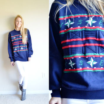Vintage Top of the Deck by Lord Jeff Sweater Nautical Sweater Navy Beach Sweater Compass Directions Blue Beachy Sweater Large Lg L Boat Top