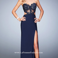 Long Navy Mock Two Piece Prom Dress by La Femme
