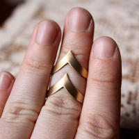 Vintage Chevron Adjustable Brass Rings - Set of 2