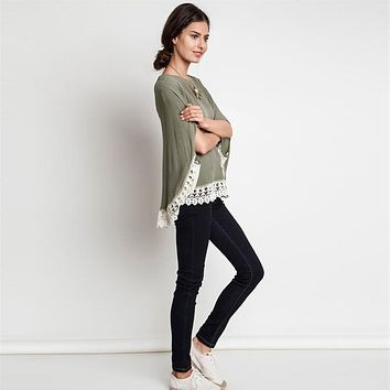 Dolman Cap Sleeves with Lace Hem Top