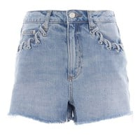MOTO Whip Stitch Mom Shorts