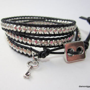 Black and Silver 3x Beaded Leather Wrap Women's Leather Bracelet Faceted Pewter Leather Beaded Bracelet Country Girl Chic Cowgirl Jewelry